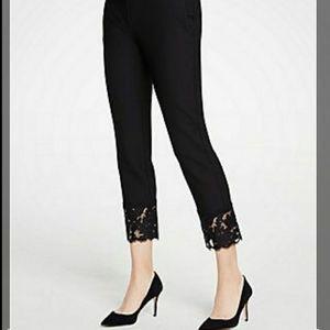 Black pants with lace trim